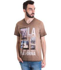 camiseta konciny manga curta estonada 33012 marrom claro