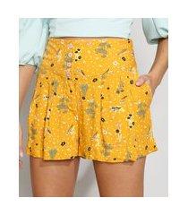short feminino reto cintura alta estampado floral com bolsos amarelo