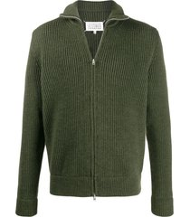 maison margiela zip-up wool cardigan - green