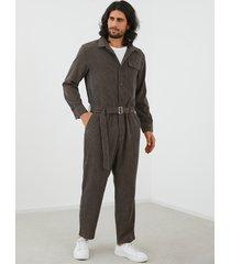 mono de manga larga frontal con botones de pana de moda para hombre mono