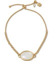 lucky brand gold-tone mother-of-pearl slider bracelet