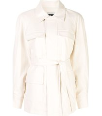 apparis tina long sleeve flap pockets coat - white