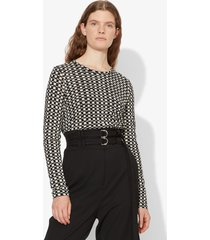 proenza schouler check print long sleeve t-shirt black/white shibori print xs