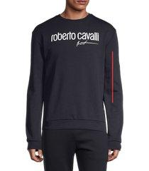 roberto cavalli sport men's logo stretch sweatshirt - navy - size s