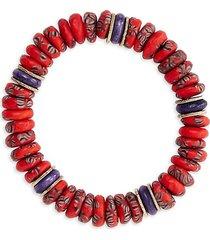 akola women's 10k goldplated, glass & bone bead egypt stretch bracelet