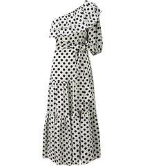 polka dot-print one-shoulder tiered linen dress