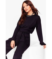 womens running out of tie ribbed wide-leg pants set - black