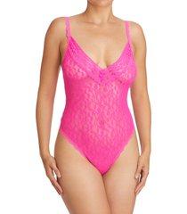 women's hanky panky eros love & heart mesh thong teddy, size large - pink