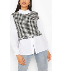 shirred neck dogtooth layered cotton blouse