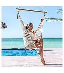 cotton hammock swing chair, 'deserted beach' (mexico)