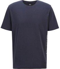 hugo boss t-shirt van stretchkatoen met verticaal logo donkerblauw
