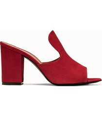 via roma 15 sabot in suede rosso