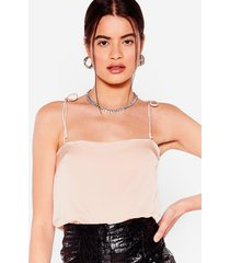 womens tie oh tie cropped cami top - nude