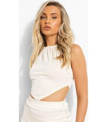 gerecyclede top met halter neck en zakdoek zoom, cream