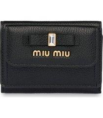 miu miu bow embellished tri-fold wallet - black