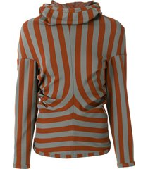 comme des garçons pre-owned striped slim-fit hoodie - brown