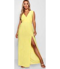 plus plunge slinky high split maxi dress, yellow