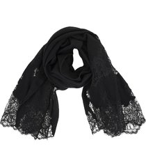black scarf with floral lace in tone
