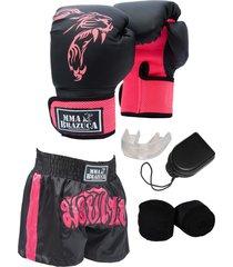 kit fight mma brazuca luva shorts bandagem bucal pink