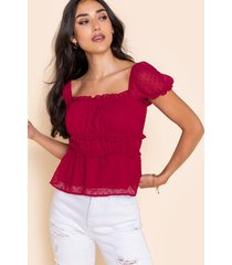 alana puff sleeve blouse - red