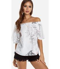 blusa blanca con hombros descubiertos y estampado floral con forro