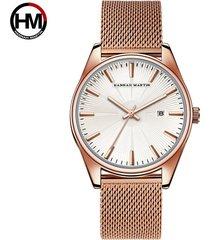 reloj de malla de acero inoxidable para hombre-blanco