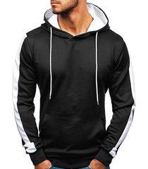 contrast tape sleeve kangaroo pocket fleece pullover hoodie