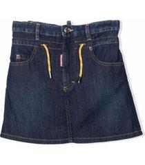 dsquared2 denim skirt with drawstring