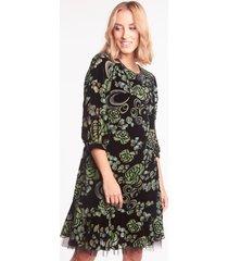 czarna sukienka welurowa w kwiaty oliwia