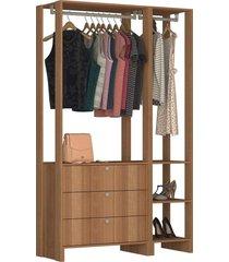 guarda roupa closet 2 peã§as 2 cabideiros marrom - marrom - dafiti