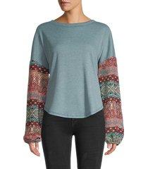 baea women's mixed-print waffle-knit top - blue denim - size xl