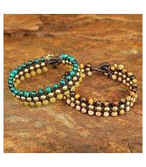 tiger's eye and jasper wristband bracelets, 'autumn sukhothai' (pair) (thailand)