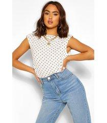 mouwloos t-shirt met schouderpads en stippen, wit