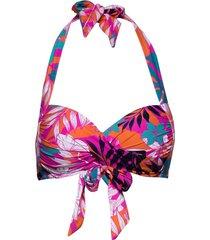 twist soft cup halter bikinitop multi/patroon seafolly