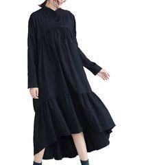 abito a maniche lunghe con collo alto e arricciatura nera