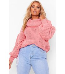 plus supersoft oversized cowl neck sweater, coral