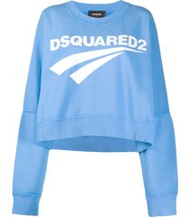 dsquared2 logo print oversized sweatshirt - blue