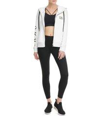 dkny sport flocked-logo zip hoodie