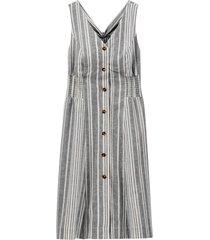 ärmlös, randig klänning i halvlång modell