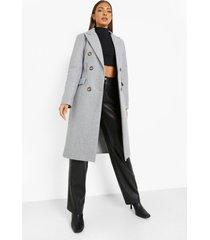 nepwollen jas met dubbele knopen, grey
