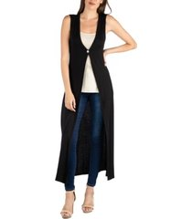 24seven comfort apparel v-neck sleeveless duster vest cardigan