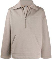 jacquemus zipped loose-fit sweatshirt - neutrals