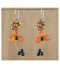 carnelian and cultured pearl beaded dangle earrings, 'autumn days' (thailand)