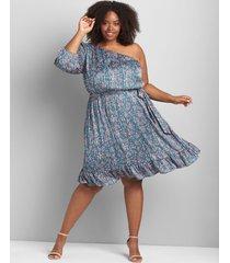 lane bryant women's one-shoulder fit & flare dress 26 luna floral