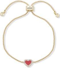 dkny gold-tone pave colored heart slider bracelet