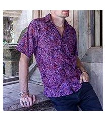 men's cotton batik shirt, 'purple jungle' (indonesia)