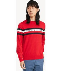 tommy hilfiger men's essential logo stripe sweater apple red/ multi - xs