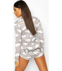 dreamy cloud long sleeve pyjama romper, grey