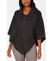 karen scott shawl-collar poncho, created for macy's
