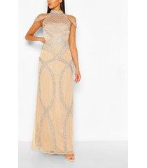 met de hand versierde gelegenheids maxi jurk met open schouders, nude